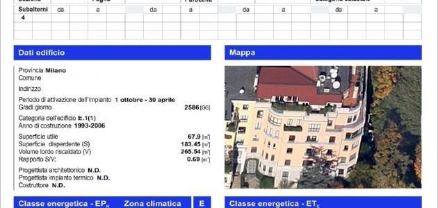 fac simile attestato certificazione energetica regione Lombardia
